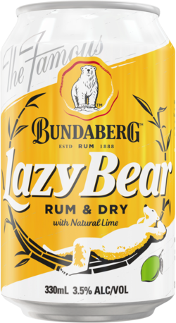 null Bundaberg Lazy Bear Dry & Lime 3.5% Can 10X330ML
