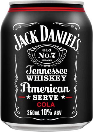 null Jack Daniels American Serve & Cola Can 10X250ML