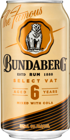 null Bundaberg Rum Vat Cola Can 4X375ML
