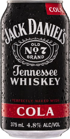 null Jack Daniels Tennessee Whiskey & Cola Can 4X375ML