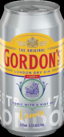 null Gordons Gin 4.5% & Tonic Can 6X375ML