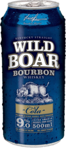 null WILD BOAR 9% BOURBON & COLA CAN 4PK 500ML