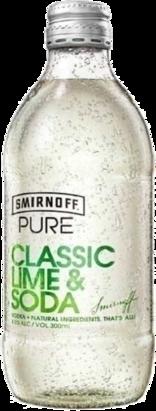 null Smirnoff Pure Lime & Soda Bottle 4X300ML