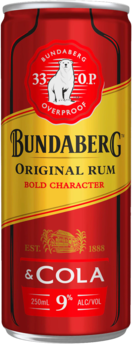 null Bundaberg Rum 33OP & Cola 9% Can 24X250ML