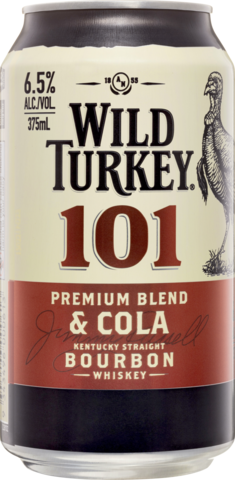 null Wild Turkey 101 Premium Blend Kentucky Staright Bourbon Whiskey & Cola 4 Pack 375mL