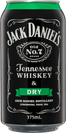 null Jack Daniels Tennessee Whiskey & Dry Can 4X375ML