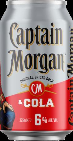 null Captain Morgan Rum & Cola 6% Can 4X375ML