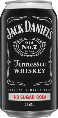 null Jack Daniels Tennessee Whiskey & No Sugar Cola Can 4X375ML