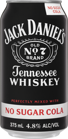 null Jack Daniels Tennessee Whiskey & No Sugar Cola Can 24X375ML