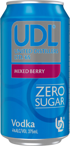 null UDL Vodka Mixed Berry Sugar Free Can 6X375ML