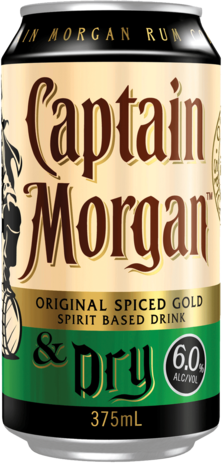 null Captain Morgan Rum & Dry 6% Can 4X375ML